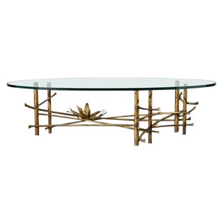 Silas Seandel Style Gilt Lotus Cocktail Table For Sale