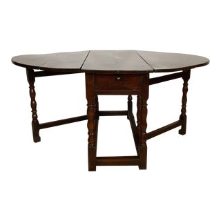 Large 19th Century English Oak Drop Leaf Table For Sale