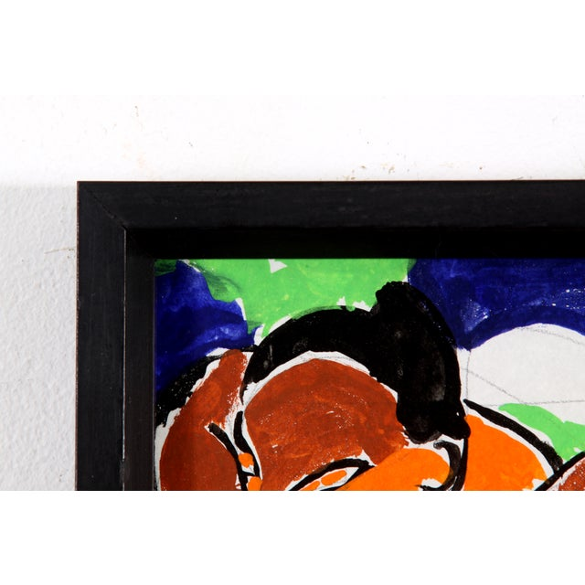 Vintage Abstract Figure Gouache Painting - Image 5 of 6