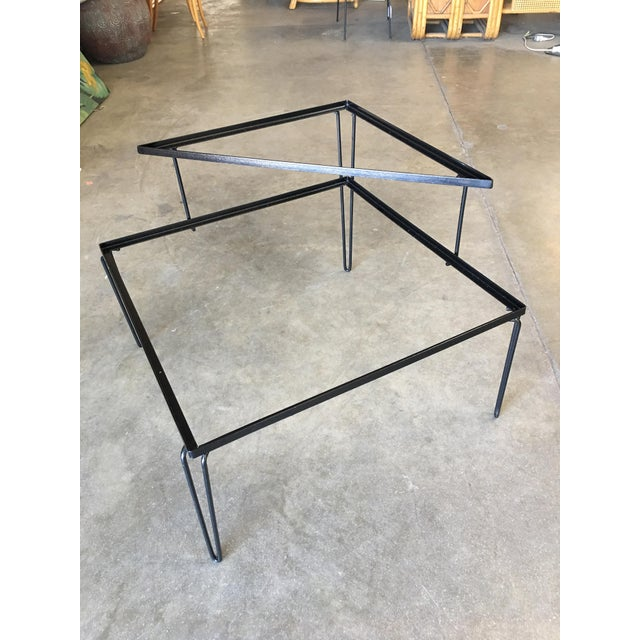 Restored Mid Century Woodard Two-Tier Glass Top Iron Outdoor/Patio Side Table For Sale In Los Angeles - Image 6 of 7