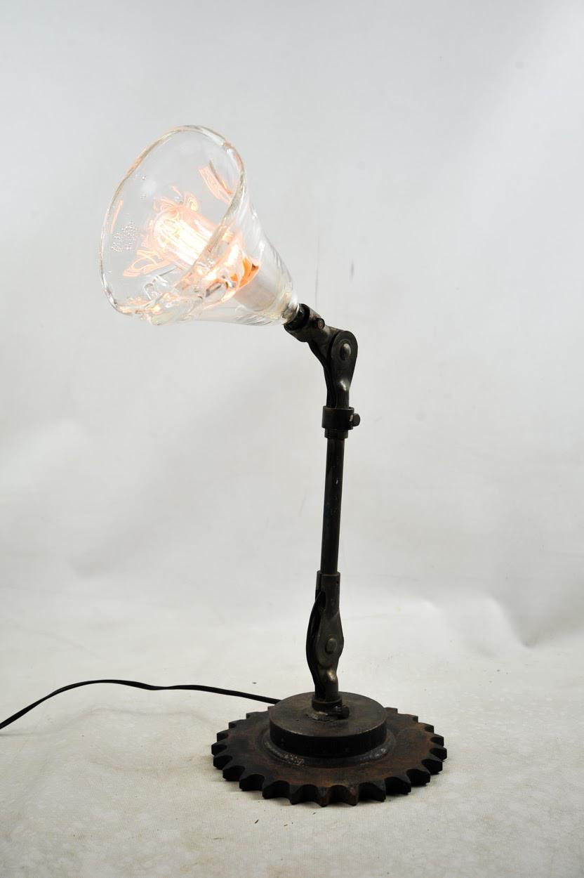1920 Industrial Iron Sea Glass Table Lamp Chairish