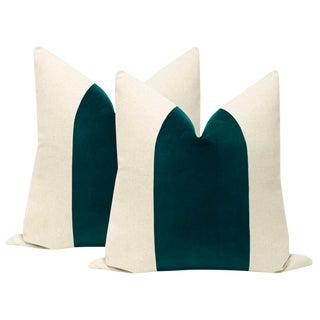 """22"""" Peacock Velvet Panel & Linen Pillows - a Pair For Sale"""