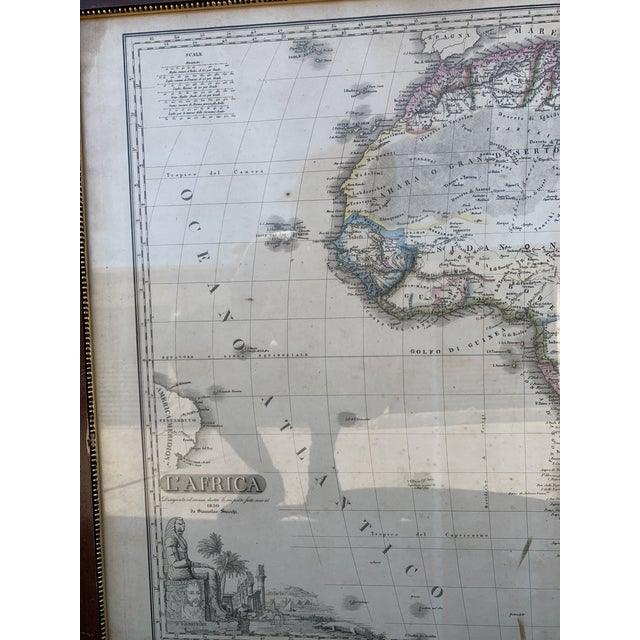 Italian Framed Printed and Hand Colored Map of Africa For Sale In Denver - Image 6 of 13