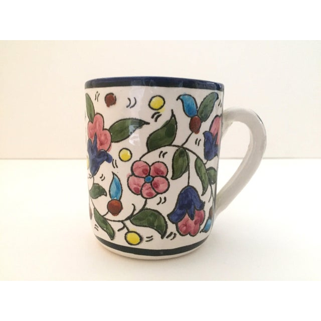 Vintage Jerusalem Pottery Armenian Floral Ceramic Hand Painted Mugs - a Pair For Sale In New York - Image 6 of 9
