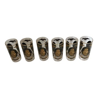 Tall Highball Tumblers Glasses USA 22k Gold - Set of 6 For Sale