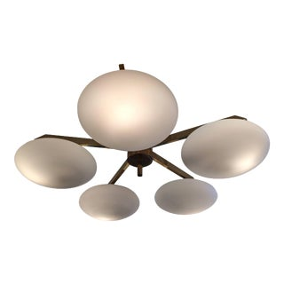 Brass and Glass Flush Mount in the Manner of Arredoluce For Sale