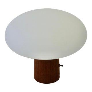 Walnut Base Laurel Lamp with Original Swedish Glass Mushroom Globe For Sale