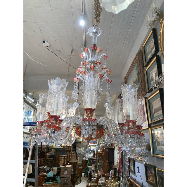 Red Late 19th Century Antique Original Signed French Baccarat 12 Light Cranberry Red Crystal Chandelier For Sale - Image 8 of 9