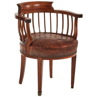 1880s England Round Wood and Leather Cushion Desk Armchair For Sale