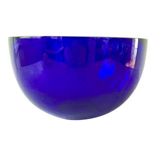 Vintage Large Cobalt Blue Serving Glass Bowl For Sale