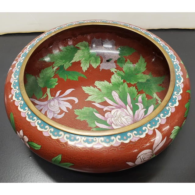 1970s Circa 1970 Chinese Cloisonne and Brass Floral/Butterfly Motifs Brush Washer Bowl For Sale - Image 5 of 9