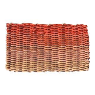 "Recycled Lobster Rope Doormat - ""Hey Ombre Orange"""