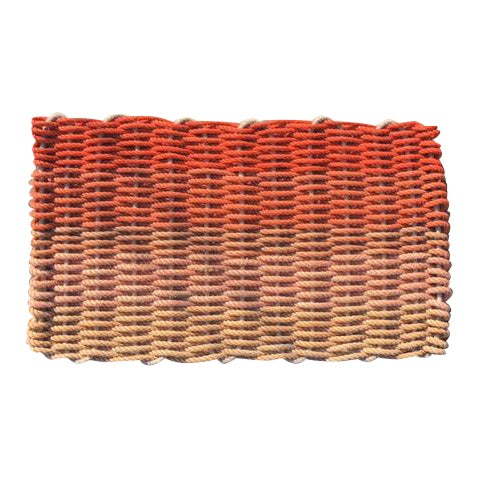 "Recycled Lobster Rope Doormat - ""Hey Ombre Orange"" - Image 1 of 4"
