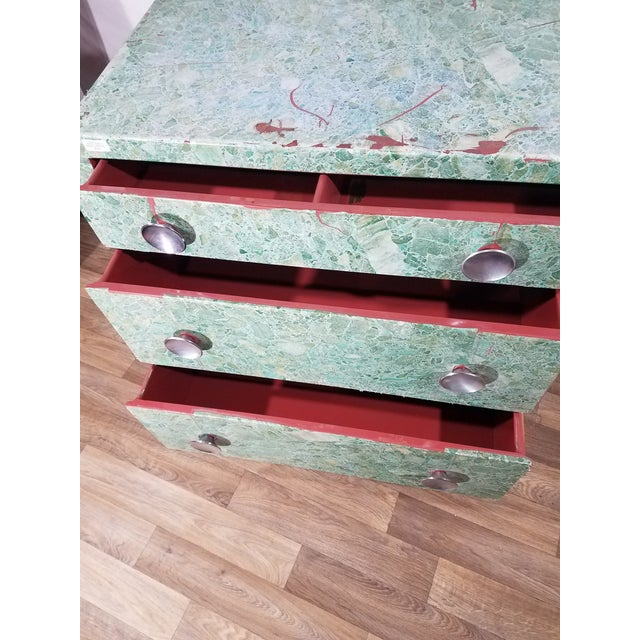 1930s Simmons 3-Drawer Steel Green Granite Chest Of Drawers For Sale - Image 5 of 11