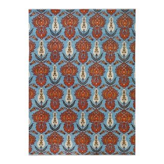 "Kafkaz Peshawar Curtis Blue Orange Wool Rug - 10'2"" x 13'10"""