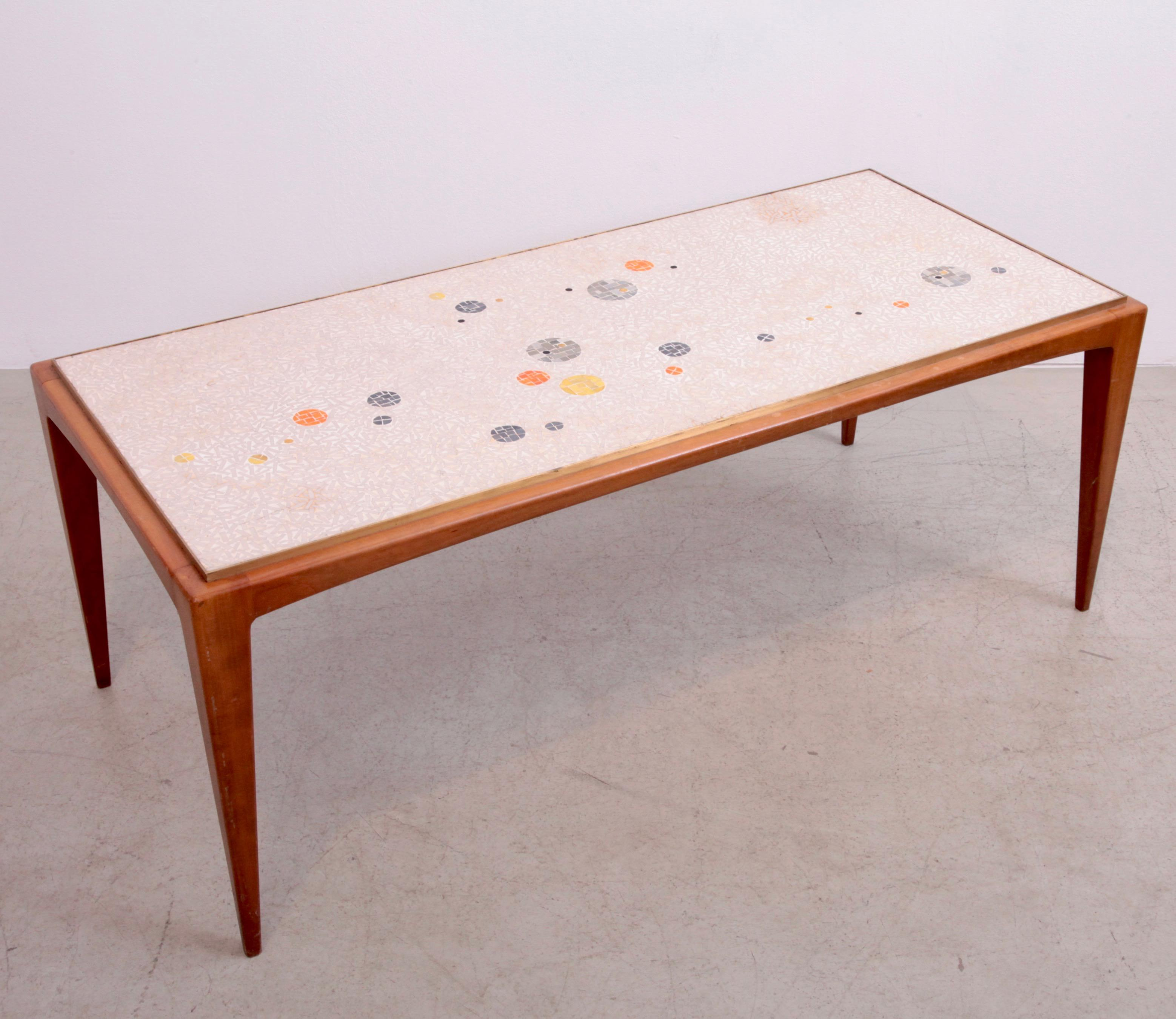 Signed Berthold Muller Mosaic Coffee Table On Wood Base, Germany, 1958