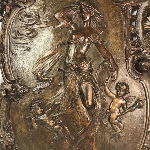 Antique Gilded Bronze Plaque For Sale - Image 4 of 11