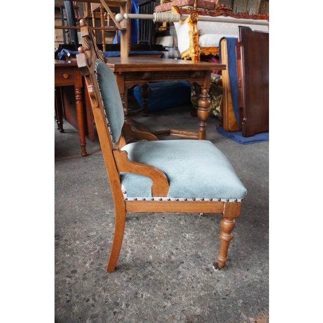 Antique Victorian Renaissance Revival Walnut Burl Parlor Accent Chair For Sale - Image 12 of 13