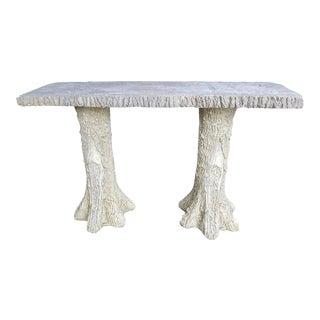 Faux Bois Console Cast Stone Bench Table For Sale