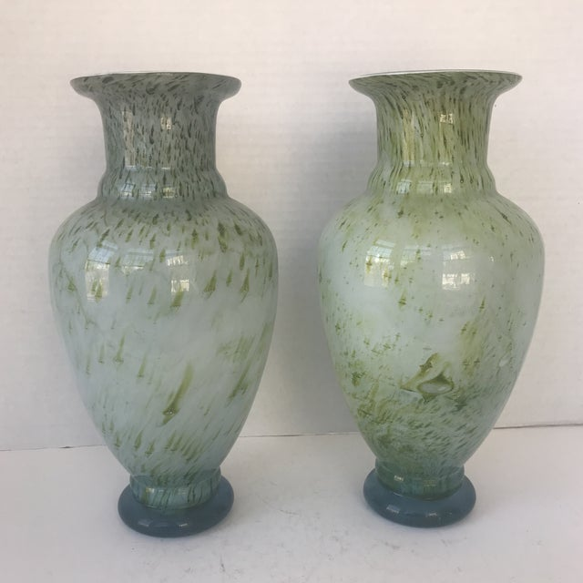 Chinese Green Glass Vases A Pair Chairish
