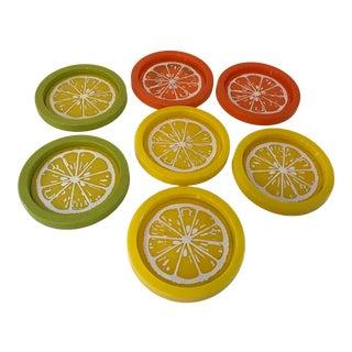 Vintage Melon Coasters -Set of 7 For Sale