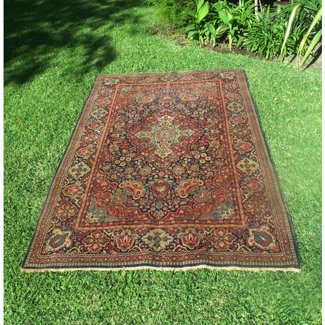 Antique Persian Oriental Handwoven Rug - 4'5'' X 6'6'' For Sale - Image 10 of 11