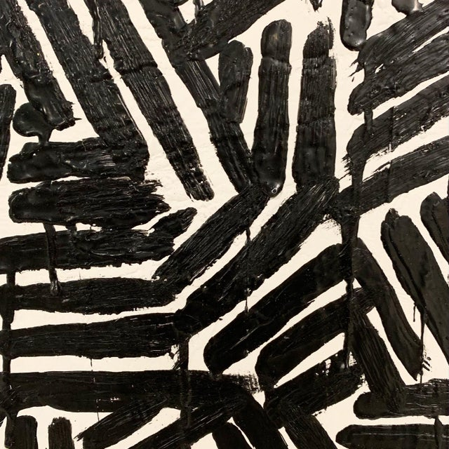 "Abstract John O'Hara. Zebra 1952. 31x31"" Encaustic Painting For Sale - Image 3 of 6"