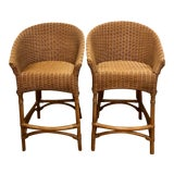 Image of Mid Century Modern Organic Bamboo Wicker and Rattan Stools - a Pair For Sale