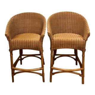 Mid Century Modern Organic Bamboo Wicker and Rattan Stools - a Pair For Sale