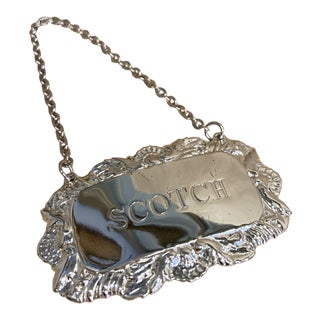 Vintage Silverplate Scotch Decanter Tag For Sale
