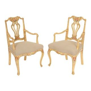 Continental Painted Armchairs- a Pair For Sale