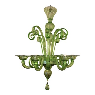 Angelo Vittorio Mazzega Murano Green Six Light Chandelier For Sale
