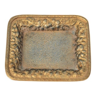 Vintage Metal Small Floral Tray For Sale