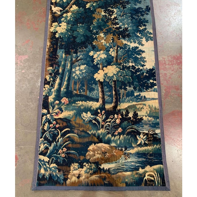 French Mid-18th Century French Verdure Aubusson Tapestry With Trees and Foliage For Sale - Image 3 of 13