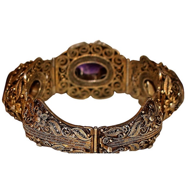 1940s Chinese Gold-Plated Sterling Silver Amethyst Bracelet For Sale - Image 4 of 6