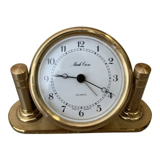 Small Mark Cross Gold Desk Clock For Sale