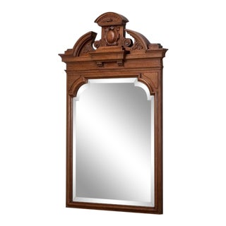 19th Century Irish Neoclassical Carved Walnut Mirror For Sale