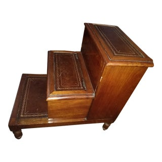 Antique English Regency Bed Steps or Library Steps For Sale
