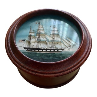 Vintage American Clipper Ship Reverse Painted Wood Box, Round Trinket Box For Sale