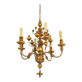 "Giltwood Italian Gilt Wood Chandelier With Interesting ""ball"" Ornamentation For Sale"