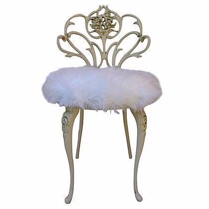 Faux Fur Vanity Stool - Image 1 of 7