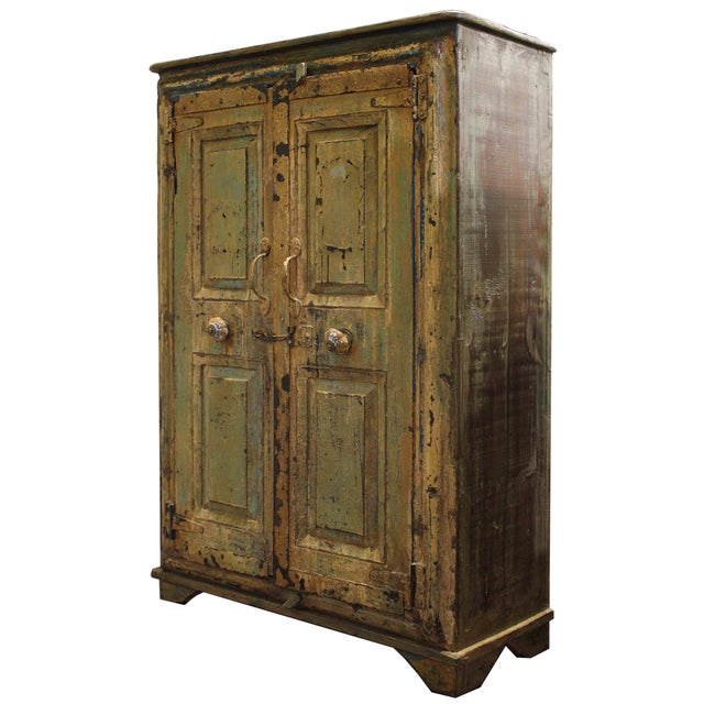 French Country Mustard Cabinet with Vintage Floral Handles For Sale - Image 3 of 4