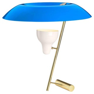 Mid-Century Modern Gino Sarfatti Model #548 Blue and Polished Brass Table Lamp For Sale