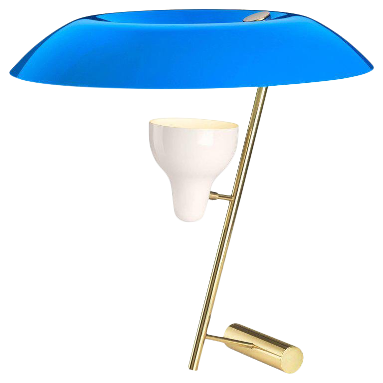 Mid Century Modern Gino Sarfatti Model #548 Blue And Polished Brass Table  Lamp