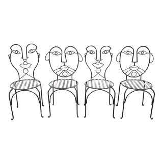Postmodern John Risley Style Faceback Chairs- 4 Pieces For Sale
