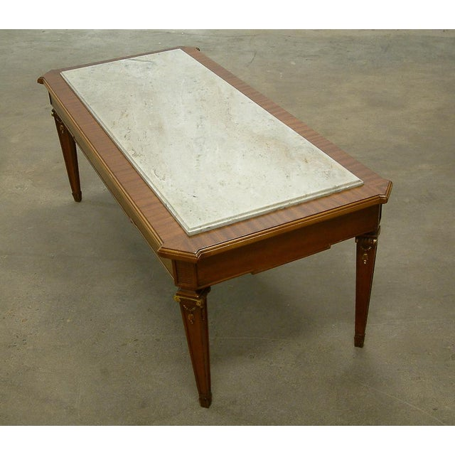 Mid-Century Modern Circa 1940 France Maison Jansen Marble and Mahogany Coffee Table For Sale - Image 3 of 9