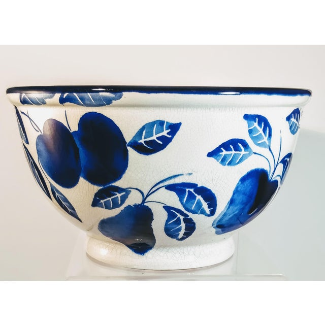 Italian Vintage Italian Fruit Bowl Blue White Pottery Mixing Kitchen Italy Ceramic For Sale - Image 3 of 10
