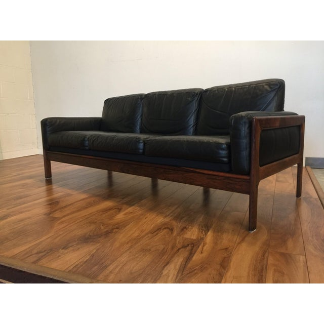 Black Komfort Mid Century Rosewood & Leather Sofa For Sale - Image 8 of 11