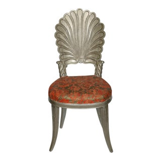 Silver Painted Grotto Shell Chair For Sale