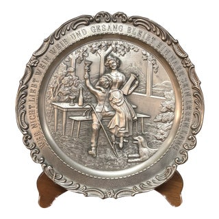 20th Century English Traditional Martin Luther Embossed Pewter Plate For Sale